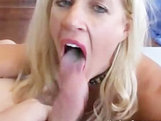 hawt golden-haired mamma takes pov creampie