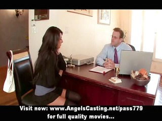 sexy brunette hair hotty has fur pie licked by