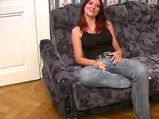 breasty milf in jeans sucks shlong like a champ