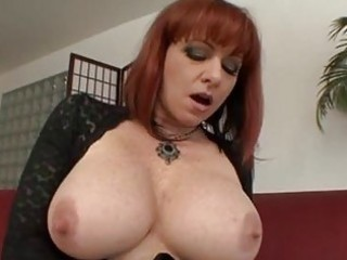 breasty aged redhead gets hard boner up her arse