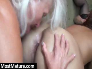excited grannies have a sexy lesbo three-some