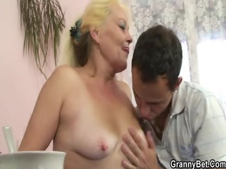 golden-haired granny gets her shaggy love tunnel