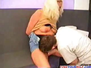 blonde russian mom eats his young rod and