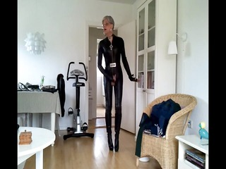 sissy sexy leather catsuit 8