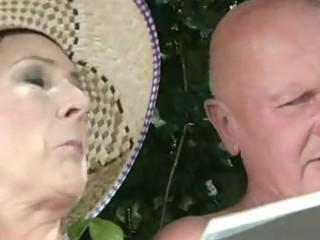 granny receives a cumshot!
