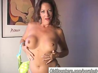 hot cougar strips and frigs her soaked twat