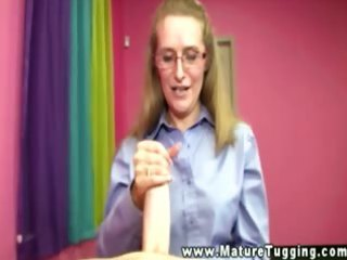 mature spex honey tugging on cock for favourable