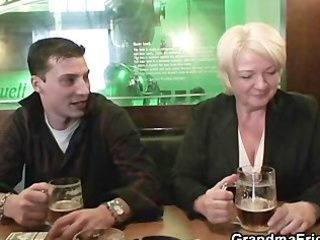 hot threesome with completely drunk granny