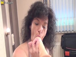 non-professional old mother getting ready with