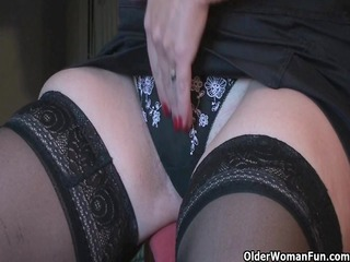 granny fun plays with her fake penis collection