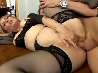 stocking clad milf likes spreading her legs for